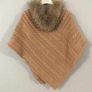 Jackets & Blazers - Fur collar poncho by Cassin New York